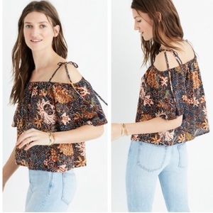Madewell Sea Floral Cold Shoulder Silk Top